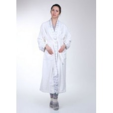 Женский халат махровый Mariposa белый кант Серебро