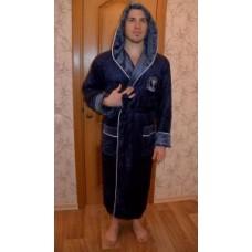 Мужской халат велюровый Nusa ns 8320 синий
