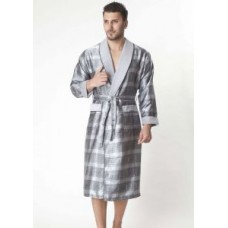 Мужской шелковый халат Nusa ns 8015 серый