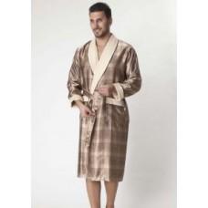 Мужской шелковый халат Nusa ns 8015 бежевый