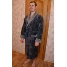 Мужской халат велюровый Nusa ns 2010 серый