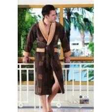 Мужской халат велюровый Nusa ns 2010 коричневый