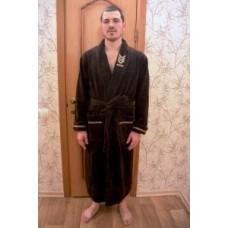 Мужской халат велюровый Nusa ns 2195 коричневый