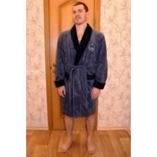 Мужской халат велюровый Nusa ns 1150-1 синий