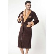 Мужской халат велюровый Nusa ns 1140-1 коричневый
