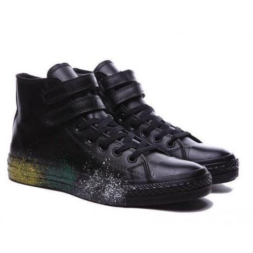 Кеды Converse Chuck Taylor All Stars High Leather Paint Черные (O-651)