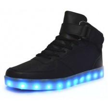 Кроссовки с LED подсветкой Черные Высокие (К-322)