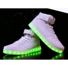 Кроссовки с LED подсветкой Белые Высокие (К-312)