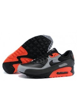 Кроссовки Nike Air Max 90 Premium Black Ash Grey Total Crimson (О-278)