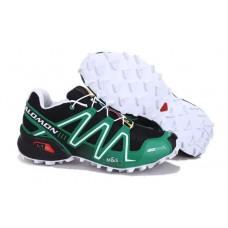 Кроссовки Salomon Speedcross 3 Черно/зеленые (О-353)