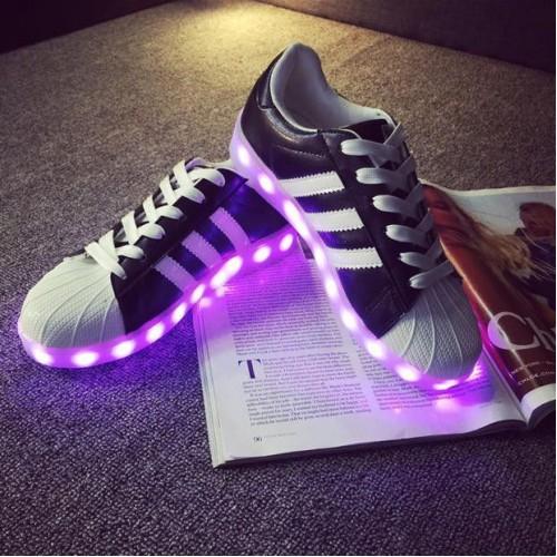 Кроссовки Adidas с LED подсветкой Черные (К-312)