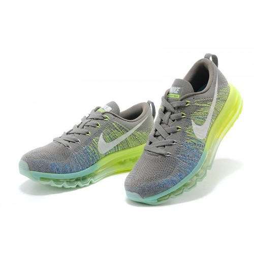 Кроссовки Nike Air Max Flyknit Grey/Green (Е-624)