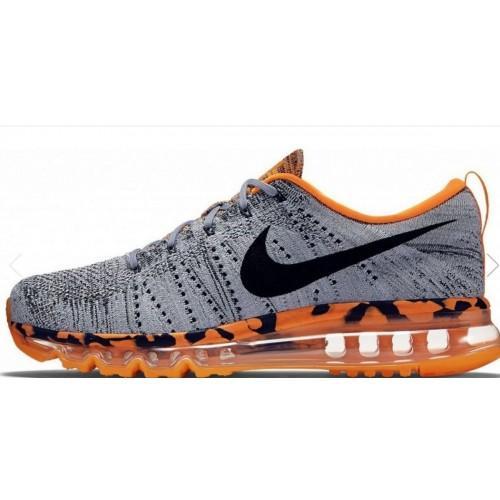 4ecb0330016e Кроссовки Nike Air Max Flyknit Grey/Black/Orange (Е-622)