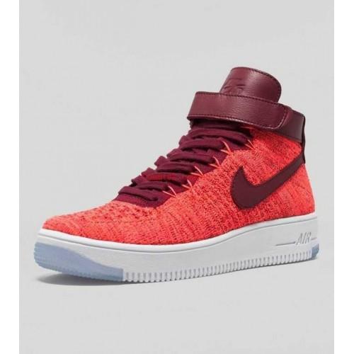 Кроссовки Nike Air Force Ultra Flyknit Красные (ЕО381)