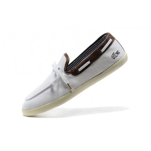 Мокасины Lacoste White and Coffee (Е-714)