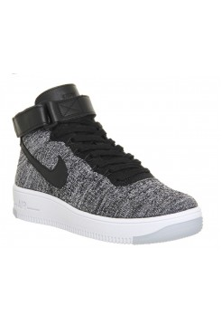 Кроссовки Nike Air Force 1 high Flyknit grey/black (ЕАО271)