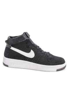 Кроссовки Nike Air Force 1 high Flyknit black/white (А272)