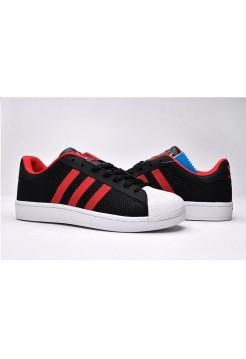 Кроссовки Adidas Stan Smith black/red (А113)