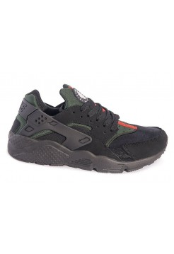 Кроссовки Nike Air Huarache black/green/red (А711)