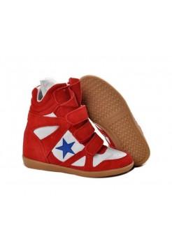 Женские кроссовки Isabel Marant Красно-белые (А411)