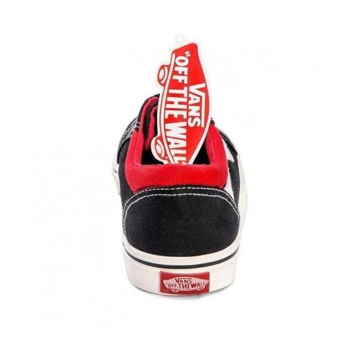 Кеды Vans Old Skool Черно-белые с красным (А502)