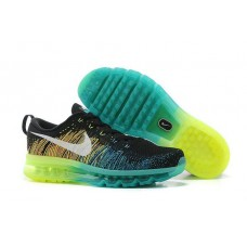 Кроссовки Nike Air Max Flyknit Black Volt Dark Green Algae White (О714)