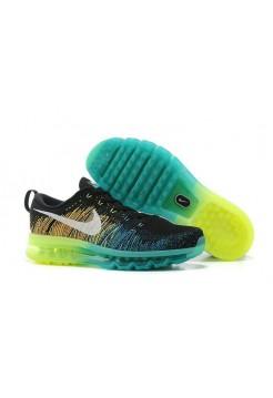 Кроссовки Nike Air Max Flyknit Black Volt Dark Green Algae White (О714)