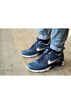 Кроссовки Nike Air Max 90 Navy Blue/White (W211)