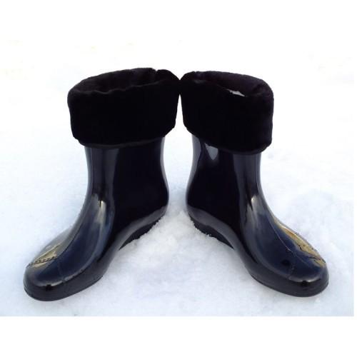 Ботики силиконовые Verona черные с мехом (A-N10)